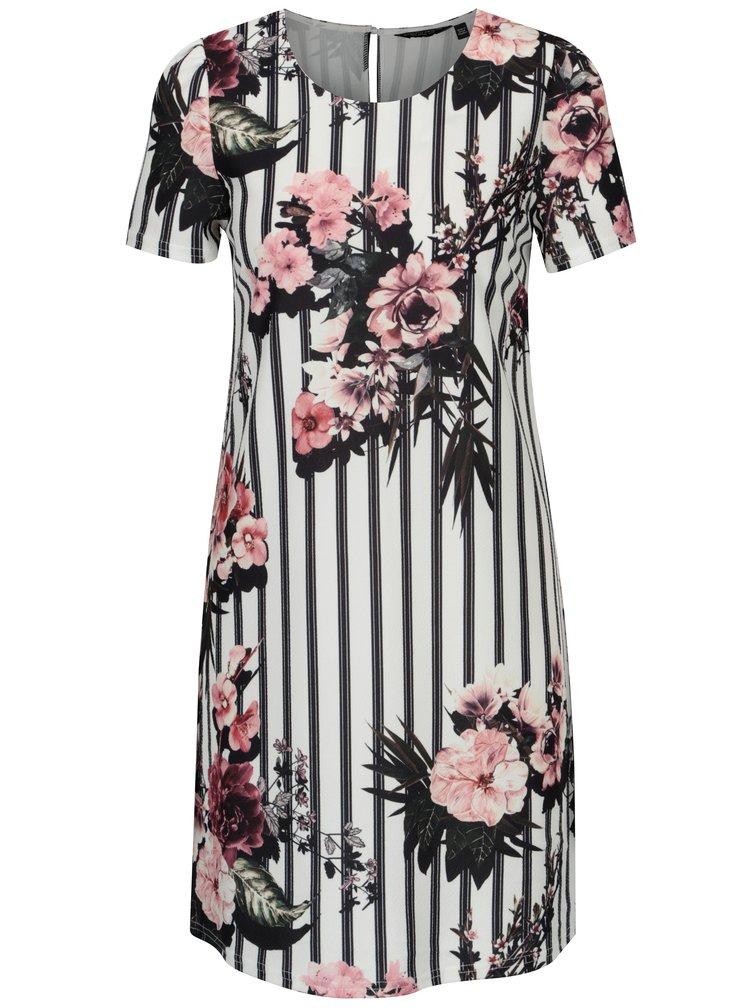 Bílé pruhované květované šaty Dorothy Perkins