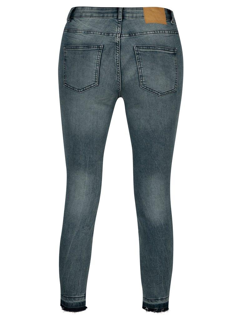 Modré skinny džíny s potrhaným efektem Jacqueline de Yong