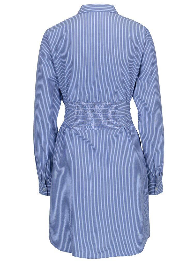 Modré pruhované košilové šaty s výšivkami Dorothy Perkins