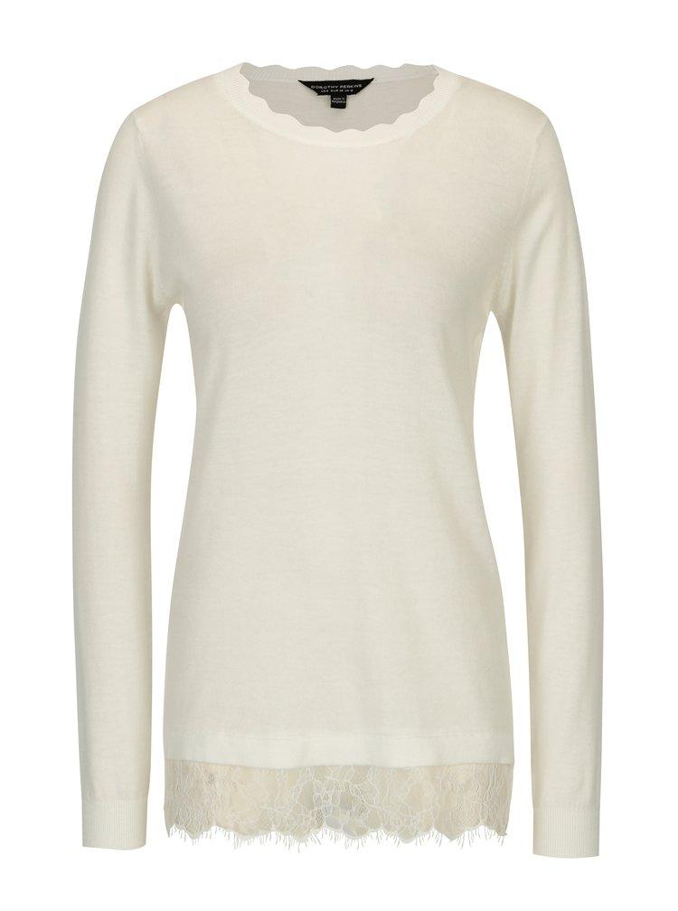 Krémový sveter s čipkovaným lemom Dorothy Perkins