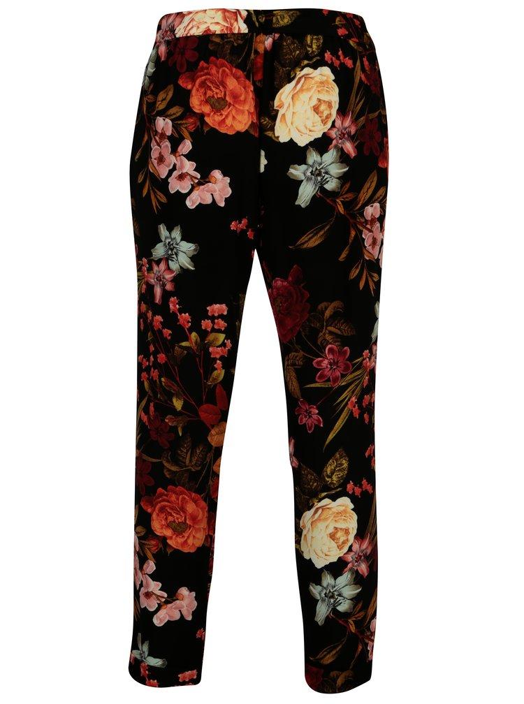 Černé květované kalhoty s páskem Dorothy Perkins