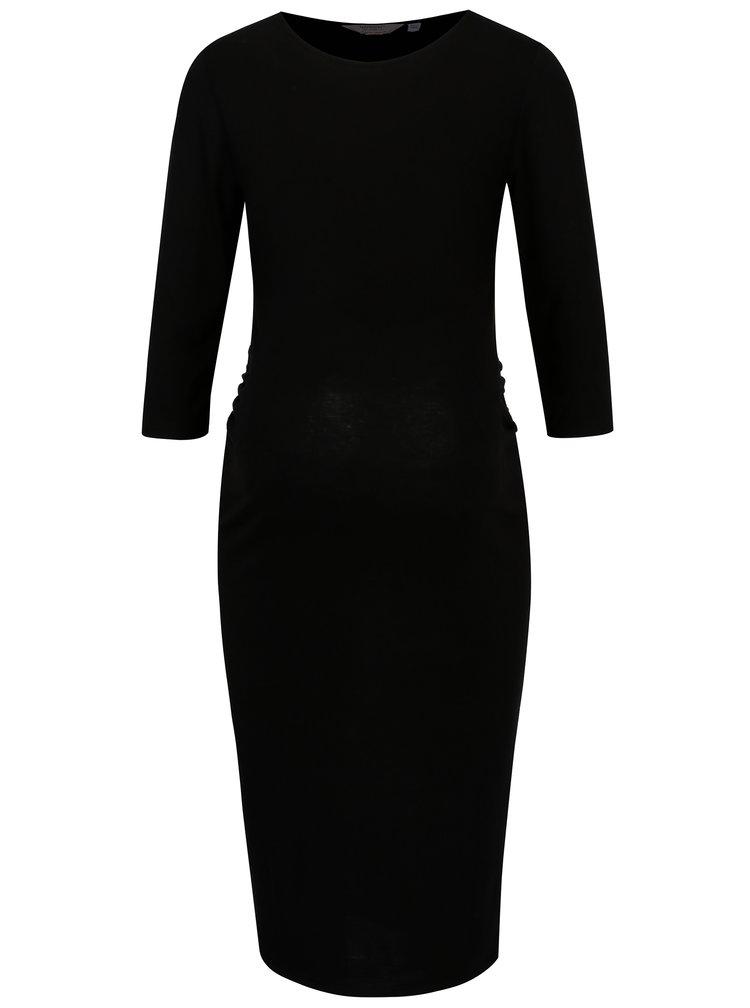 Černé těhotenské šaty s 3/4 rukávem Dorothy Perkins Maternity