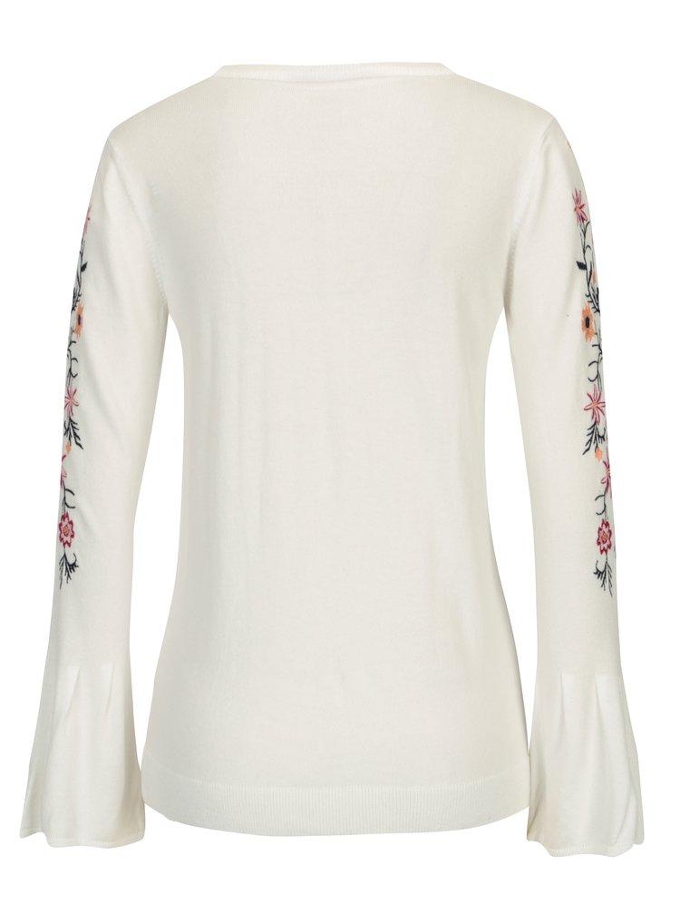 Bílý svetr s květovanou výšivkou Dorothy Perkins