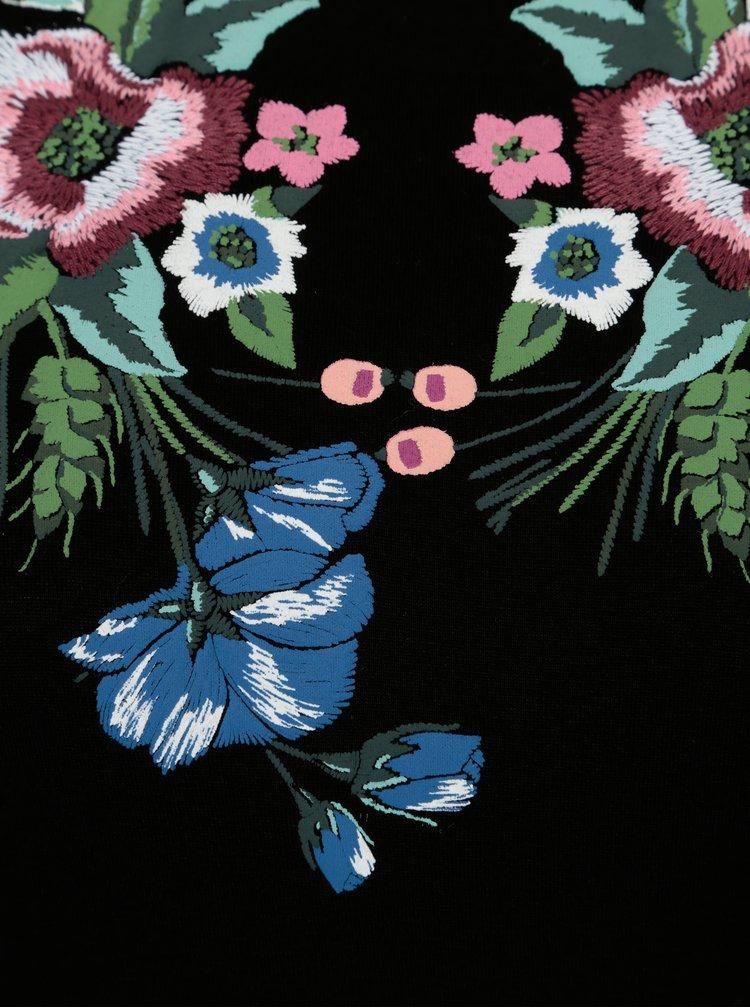 Černé šaty s květovanou výšivkou Dorothy Perkins Tall