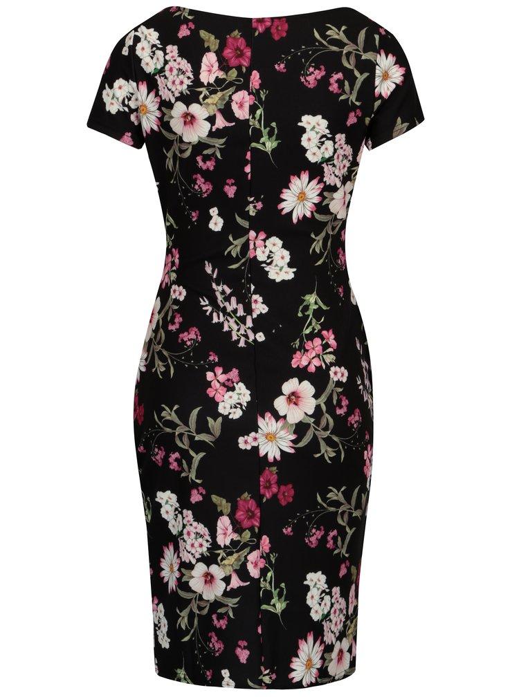 Růžovo-černé květované šaty s krátkým rukávem Dorothy Perkins