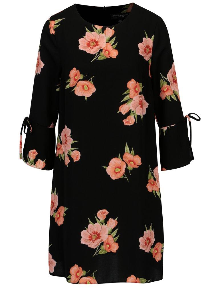 Černé květované šaty s mašlemi na rukávech Dorothy Perkins