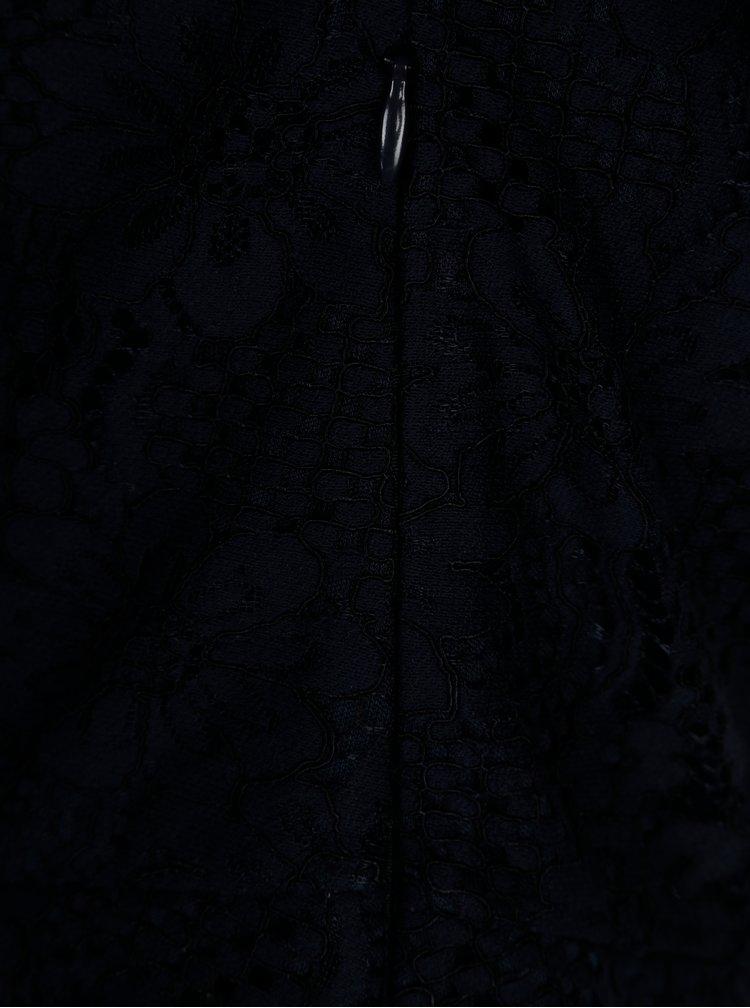Tmavě modré krajkové šaty s odhalenými rameny Dorothy Perkins