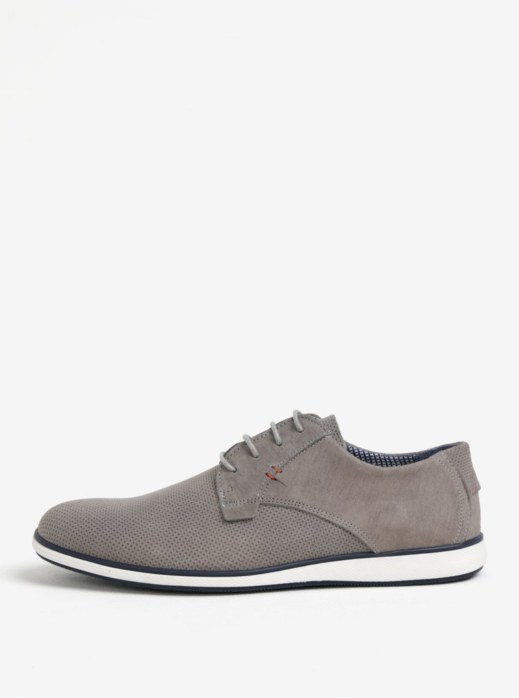 Pantofi gri din piele cu model perforat pentru barbati Dune London Balthazar
