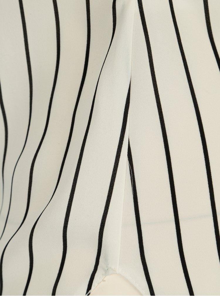 Bílá pruhovaná halenka s 3/4 rukávem a mašlí Dorothy Perkins