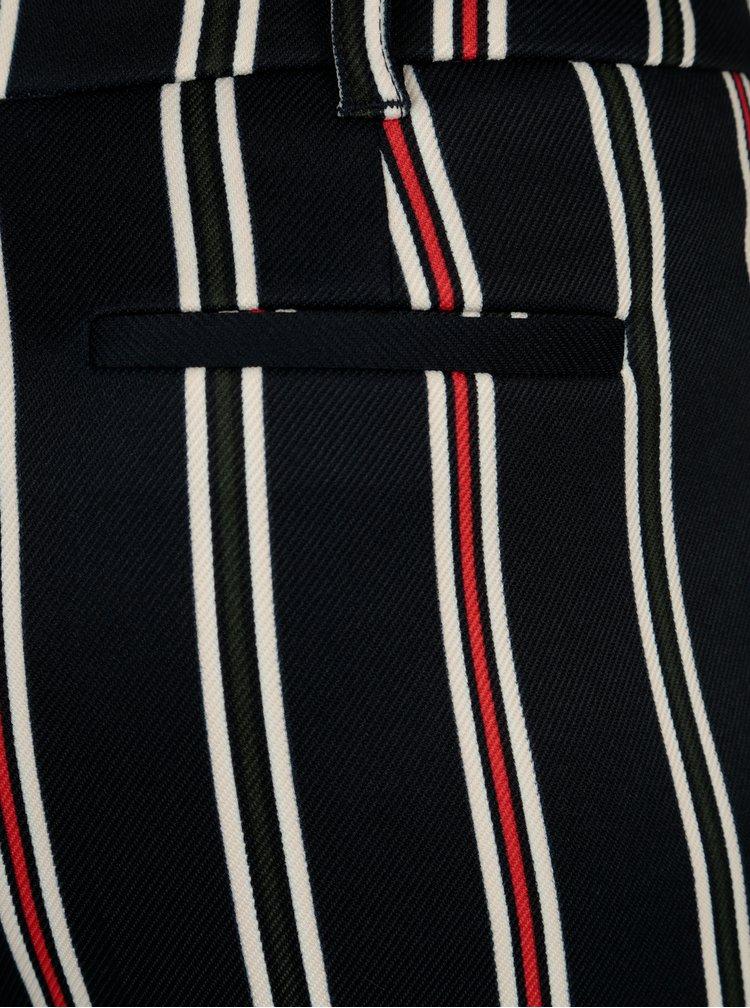 Tmavě modré pruhované zkrácené kalhoty Dorothy Perkins