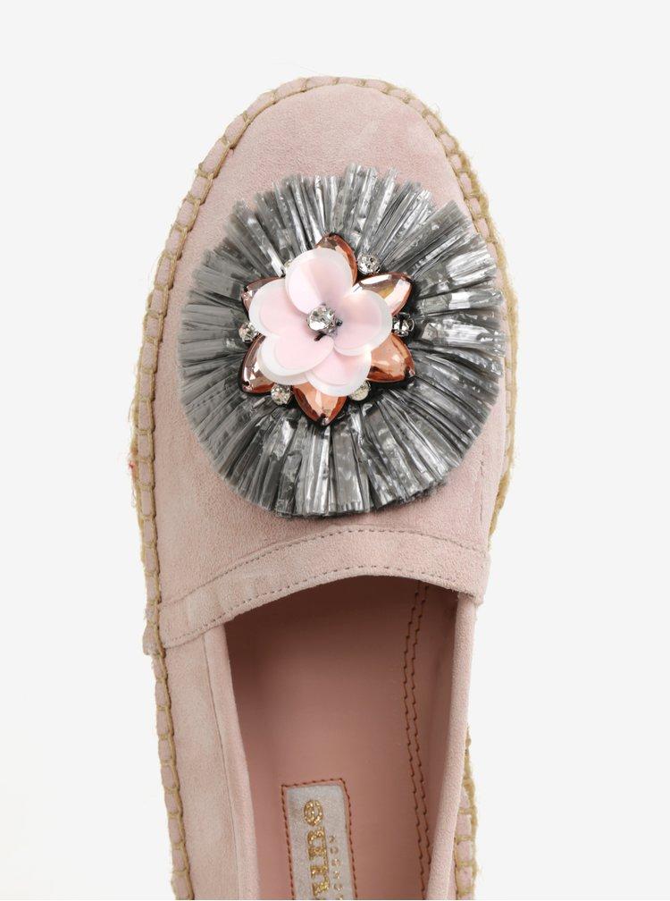 Růžové dámské semišové espadrilky na platformě Dune London Gisel