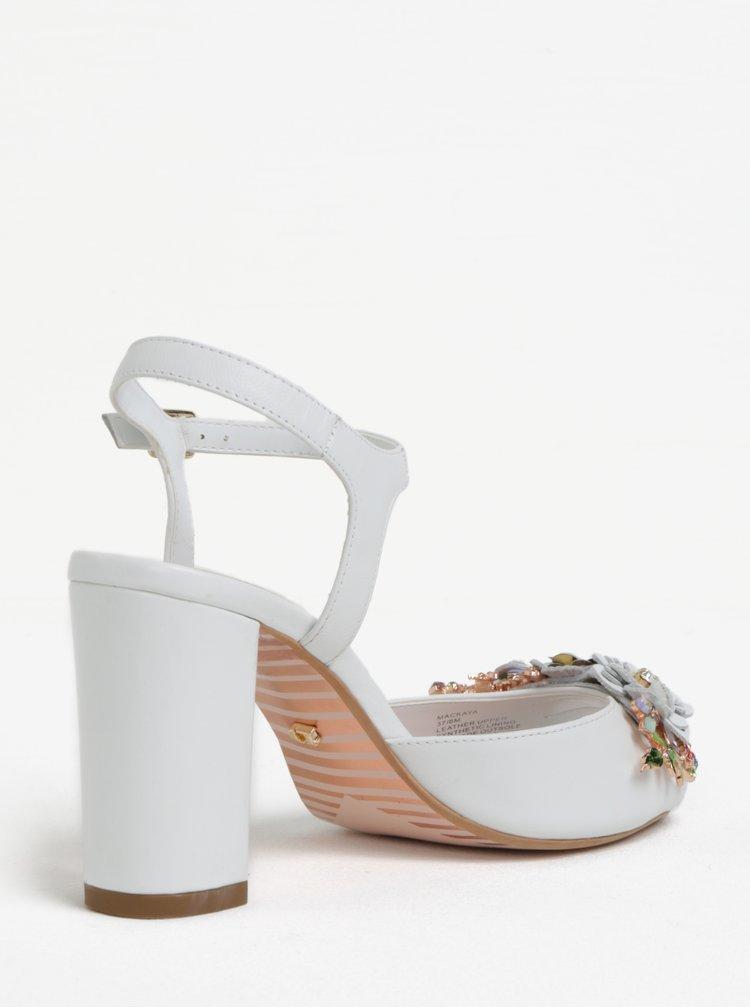 Bílé kožené sandálky na podpatku Dune London Mackaya
