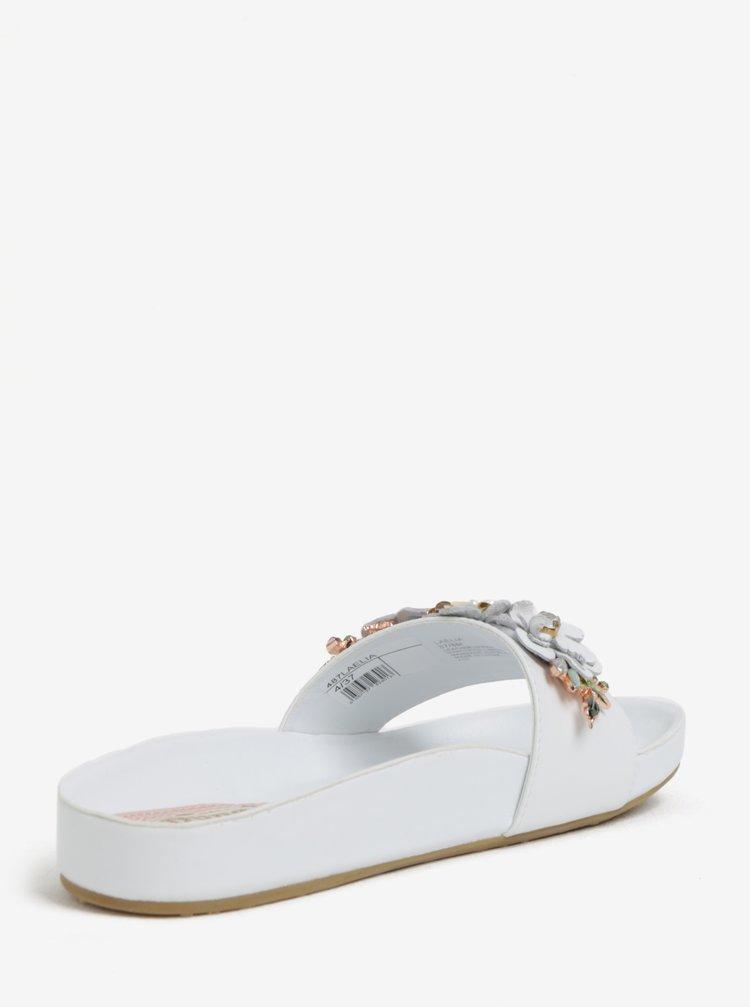 Bílé dámské kožené pantofle s květinovou ozdobou Dune London Laelia