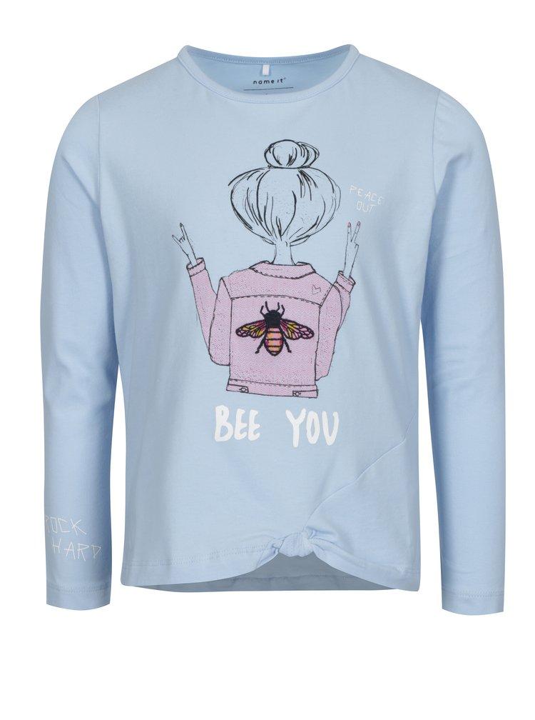 Světle modré holčičí tričko s potiskem name it Hally