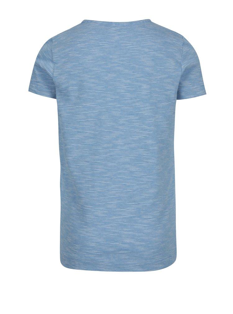 Světle modré pruhované holčičí tričko s potiskem name it Hearty