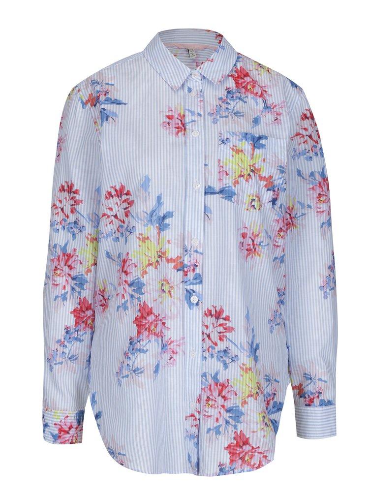 Modrá dámská košile s pruhovaným a květovaným vzorem Tom Joule