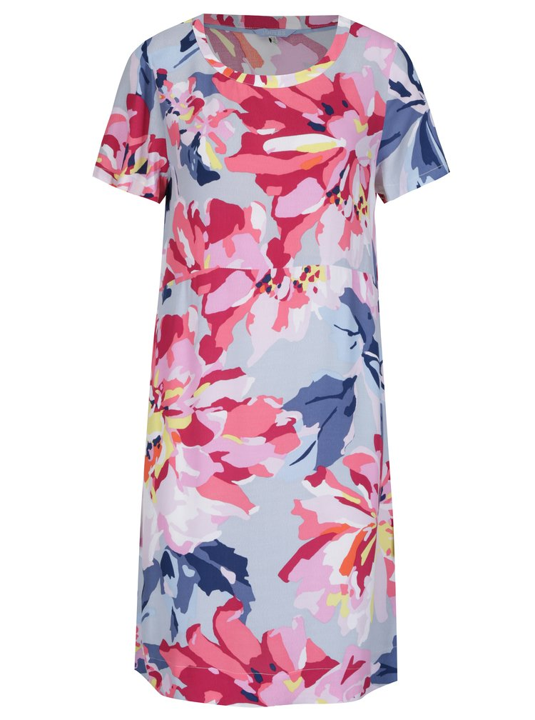 Modro-růžové květované šaty s krátkým rukávem Tom Joule