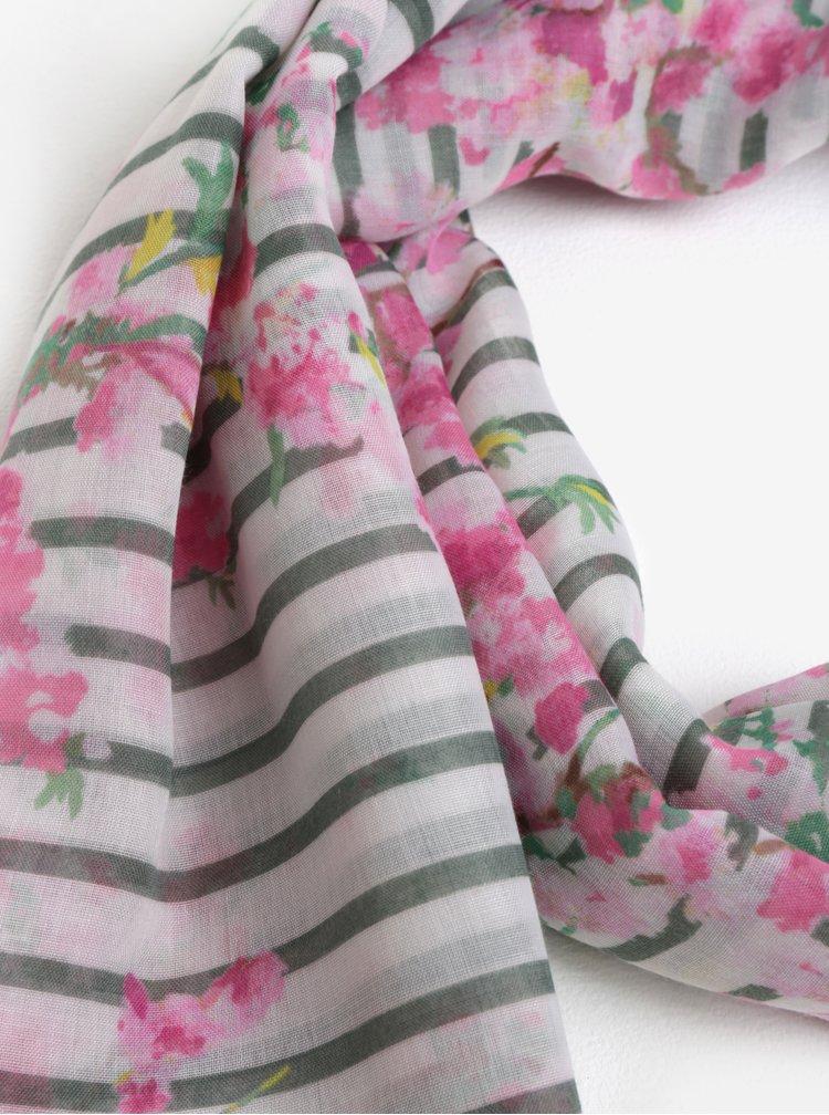Zeleno-bílý dámský šátek se vzorem pruhů a květin Tom Joule
