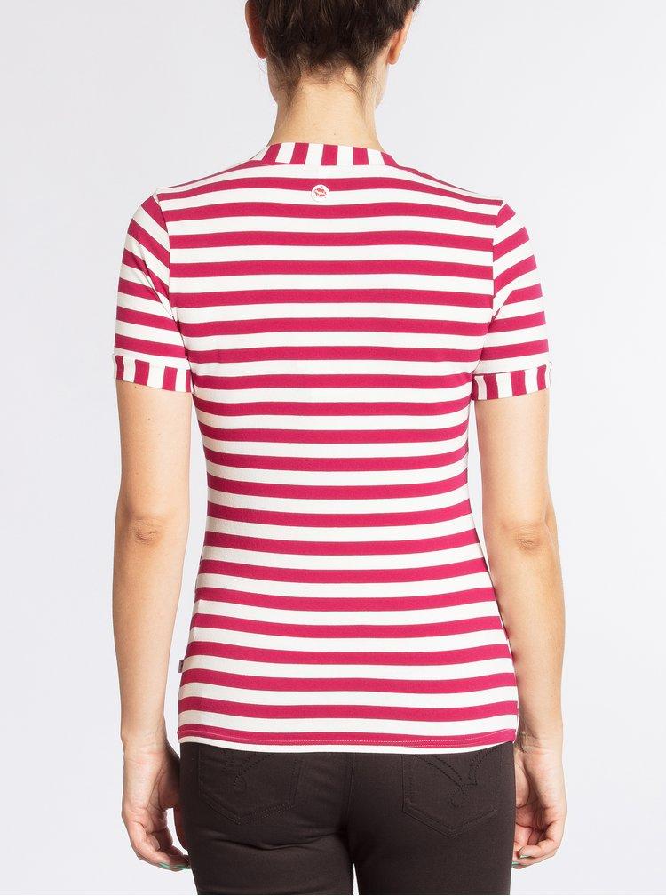 Tmavě růžové pruhované tričko Blutsgeschwister