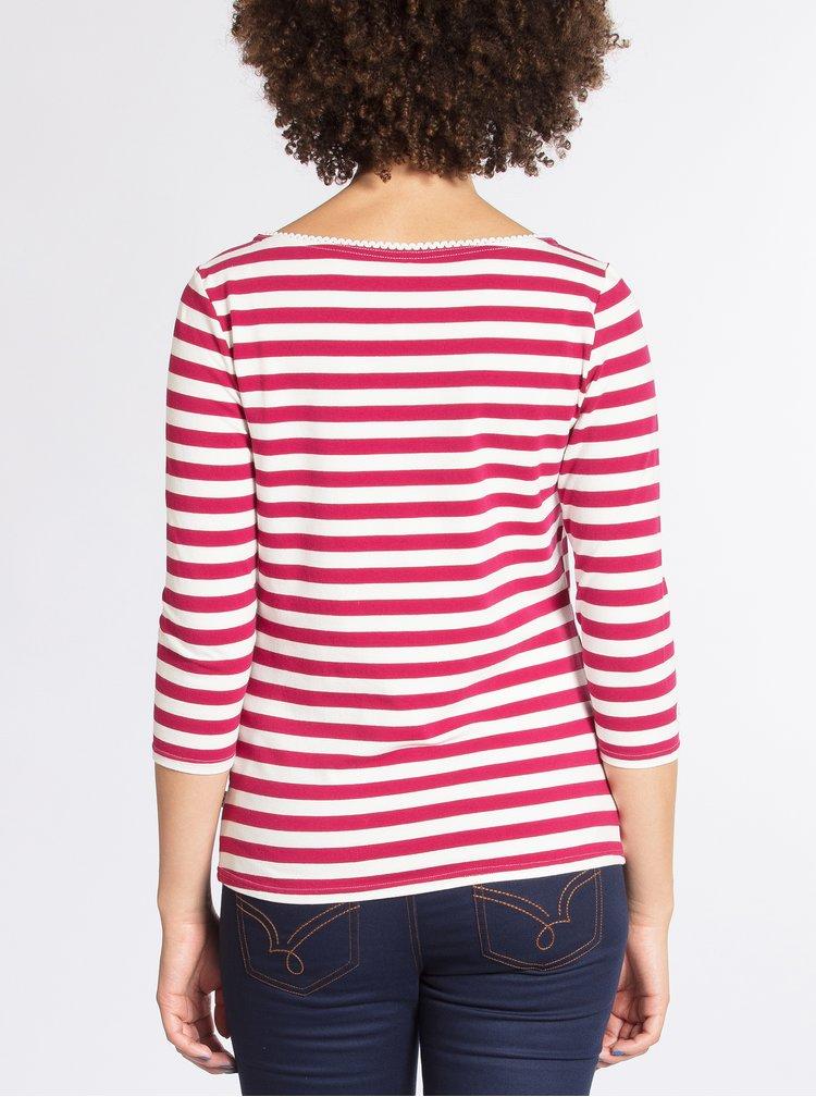 Tmavě růžové pruhované tričko s 3/4 rukávem Blutsgeschwister