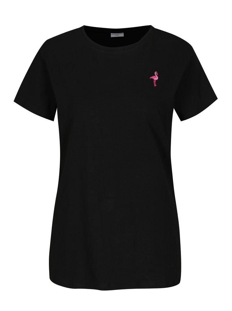 Tricou negru cu broderie flamingo Jacqueline de Yong Perfect