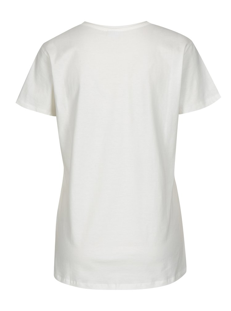 Krémové tričko s výšivkou plameňáka Jacqueline de Yong Perfect