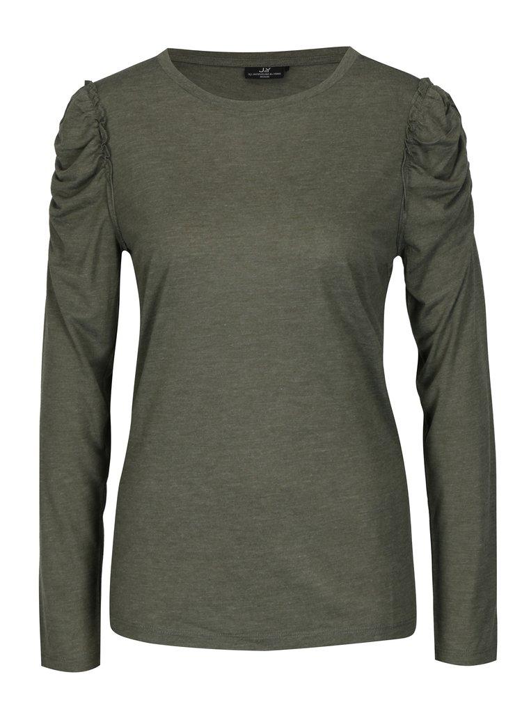 Tmavě zelené tričko s řasením na ramenou Jacqueline de Yong Fanny