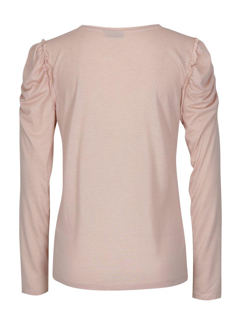 Světle růžové tričko s řasením na ramenou Jacqueline de Yong Fanny