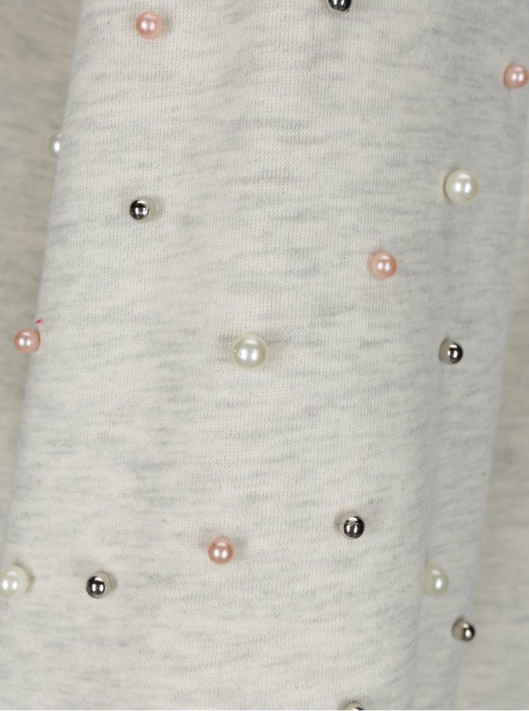 Krémovo-šedá žíhaná mikina s korálky na rukávech ONLY Asti