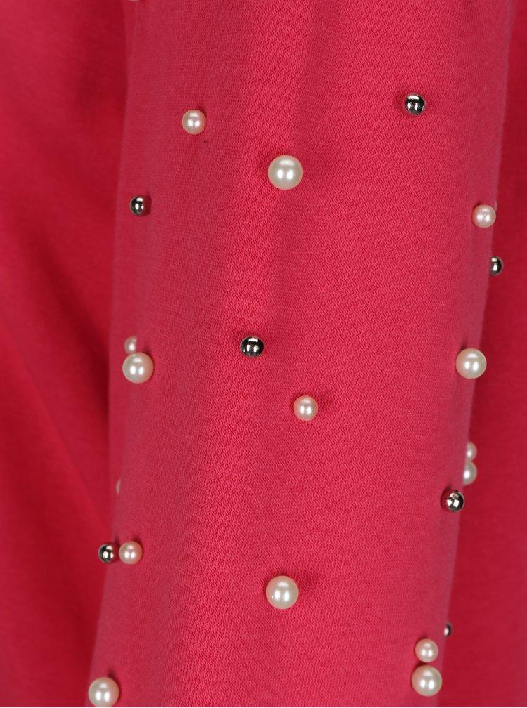 Tmavě růžová mikina s korálky na rukávech ONLY Asti