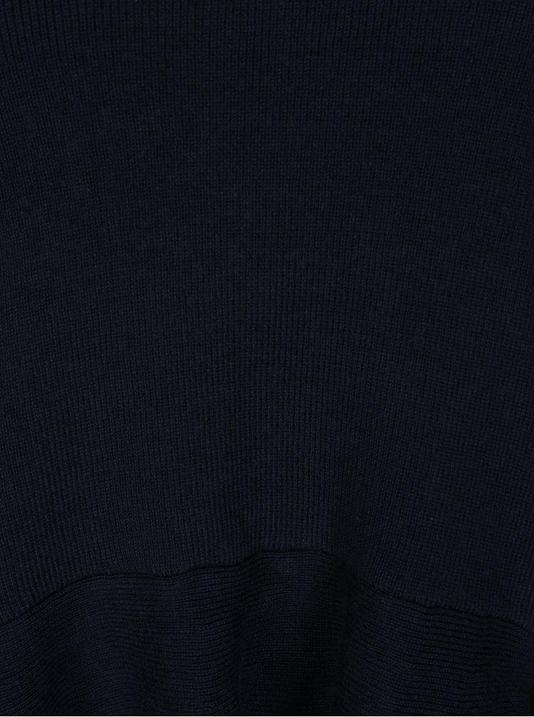 Tmavě modrý crop svetr s volánem ONLY Rosana