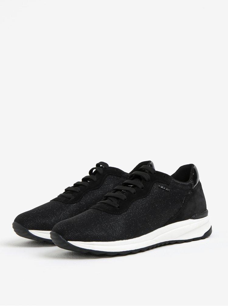 Pantofi sport negri cu aspect stralucitor pentru femei Geox Airell
