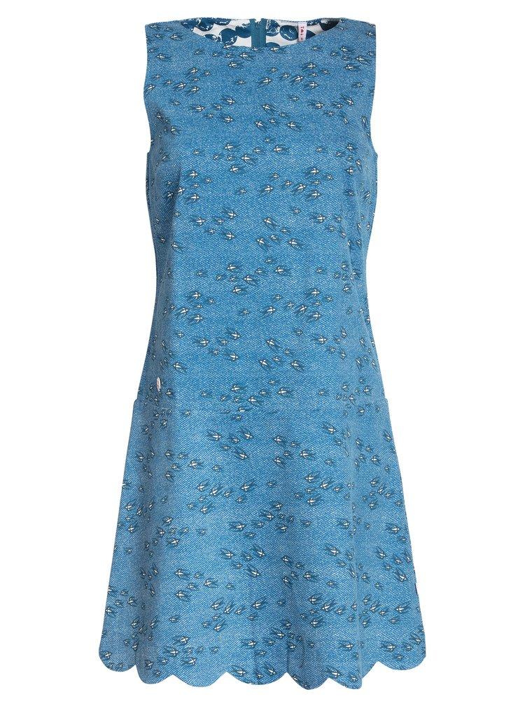 Rochie albastra cu print si terminatie ondulata Blutsgeschwister