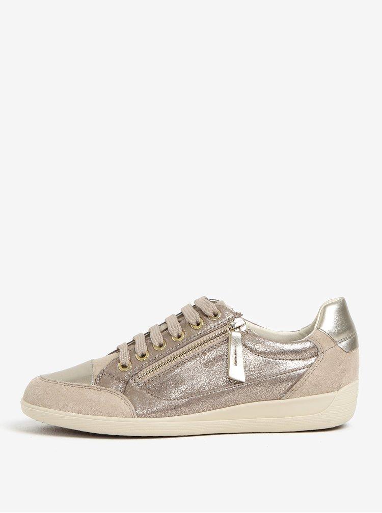 Dámské kožené tenisky ve stříbrné barvě Geox Myria