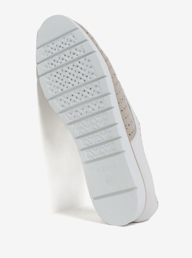 Bílo-béžové dámské kožené polobotky Geox Kookean