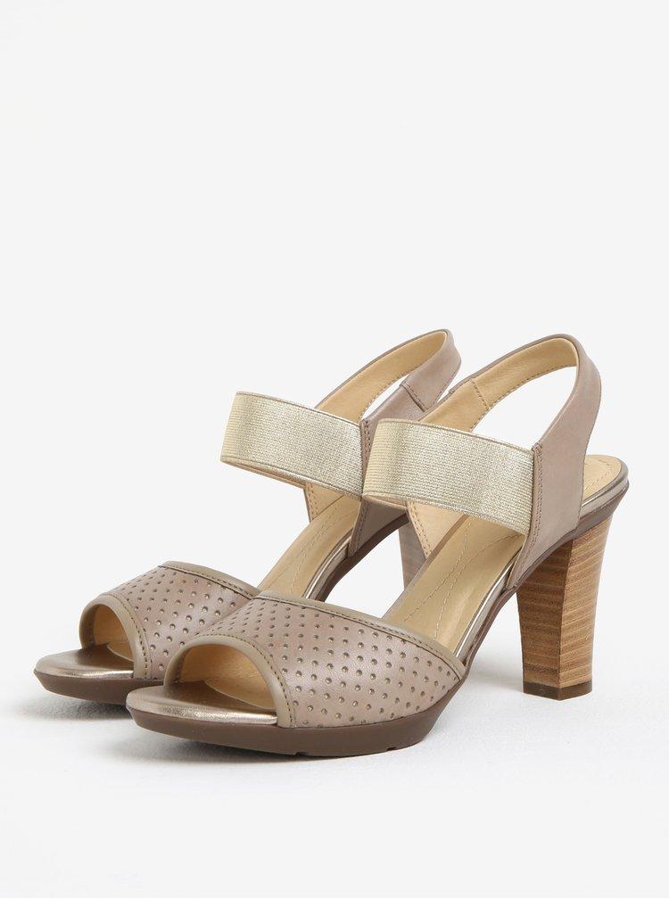 Sandale cu toc bej perforate din piele  Geox Jadalis