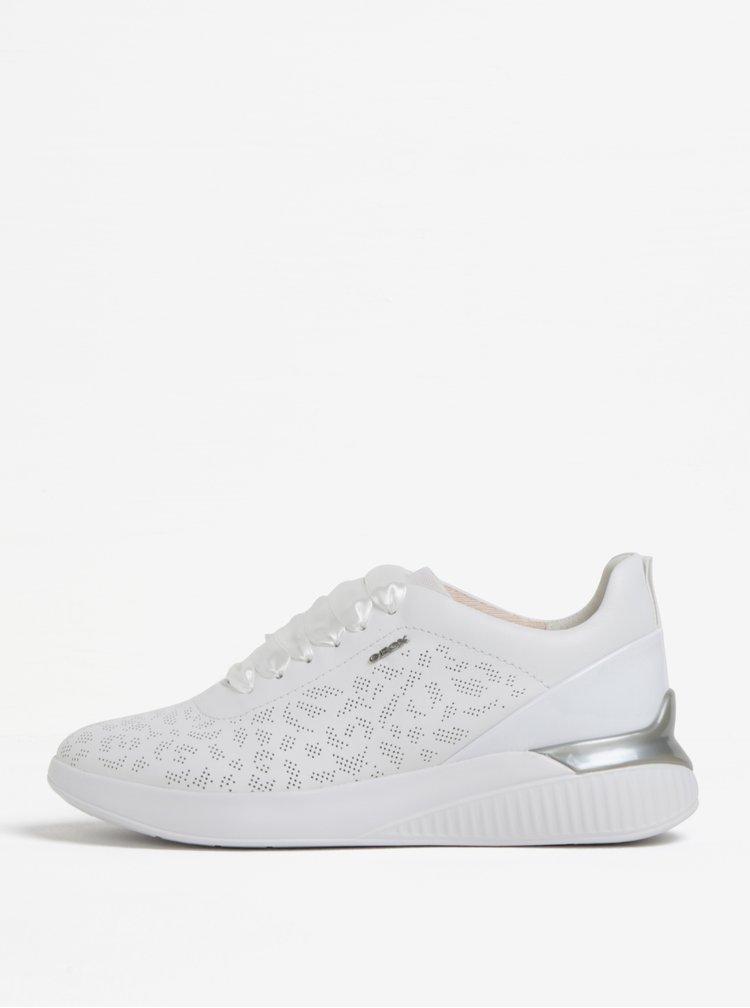 Pantofi sport albi din piele cu perforatii pentru femei Geox Theragon