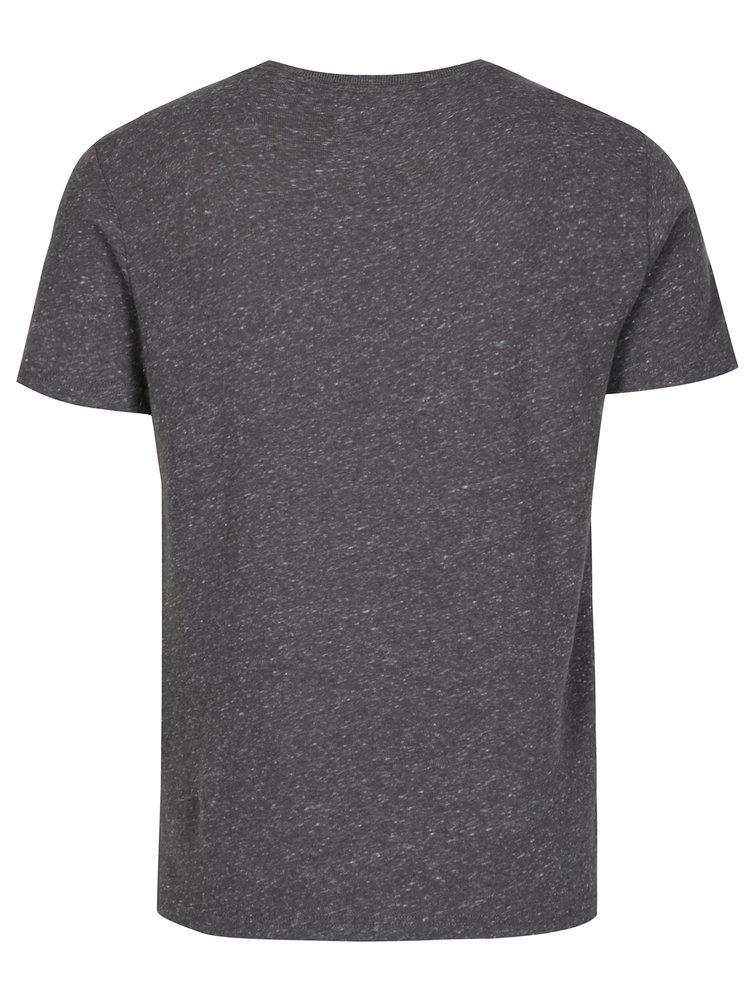 Šedé žíhané tričko s potiskem Superdry Real