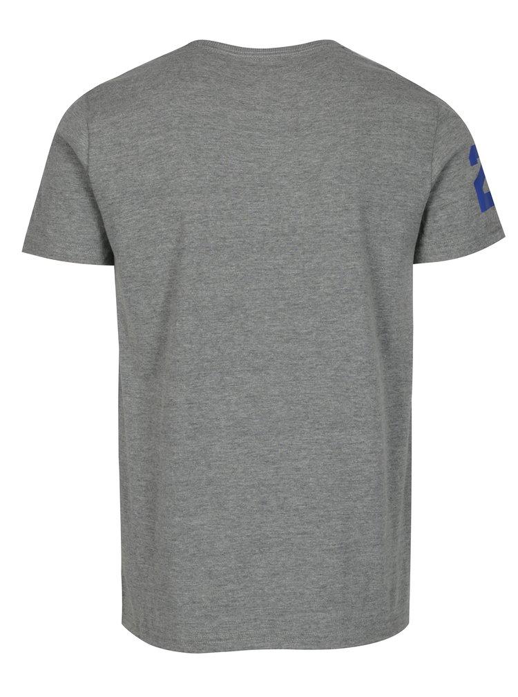 Šedé žíhané tričko s potiskem a krátkým rukávem Superdry