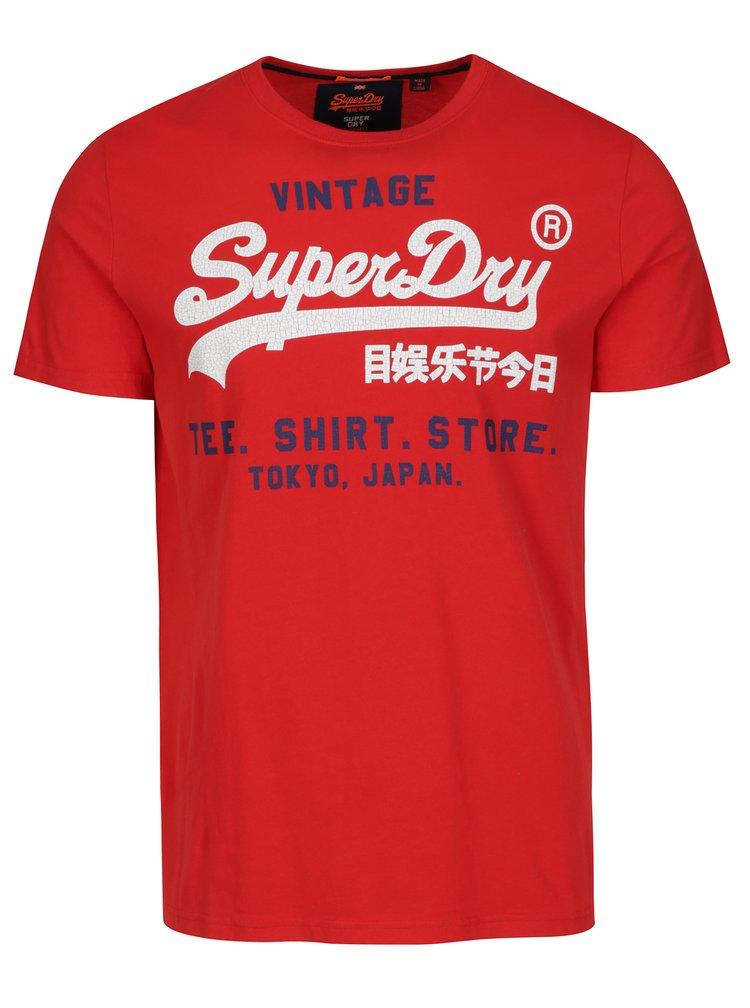 Tricou rosu cu print text Superdry