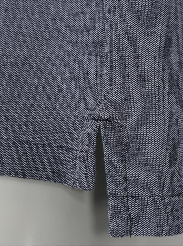 Tricou polo gri melanj & bleumarin - Original Penguin Tipped Birdseye