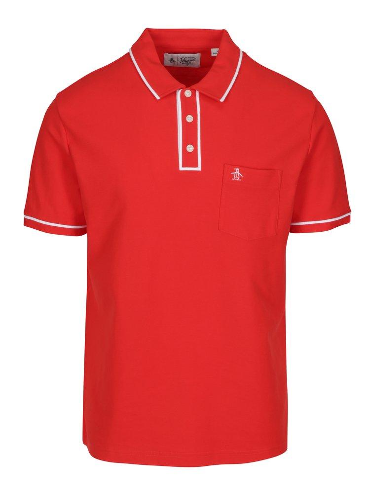 Červené polo tričko s náprsní kapsou Original Penguin Earl