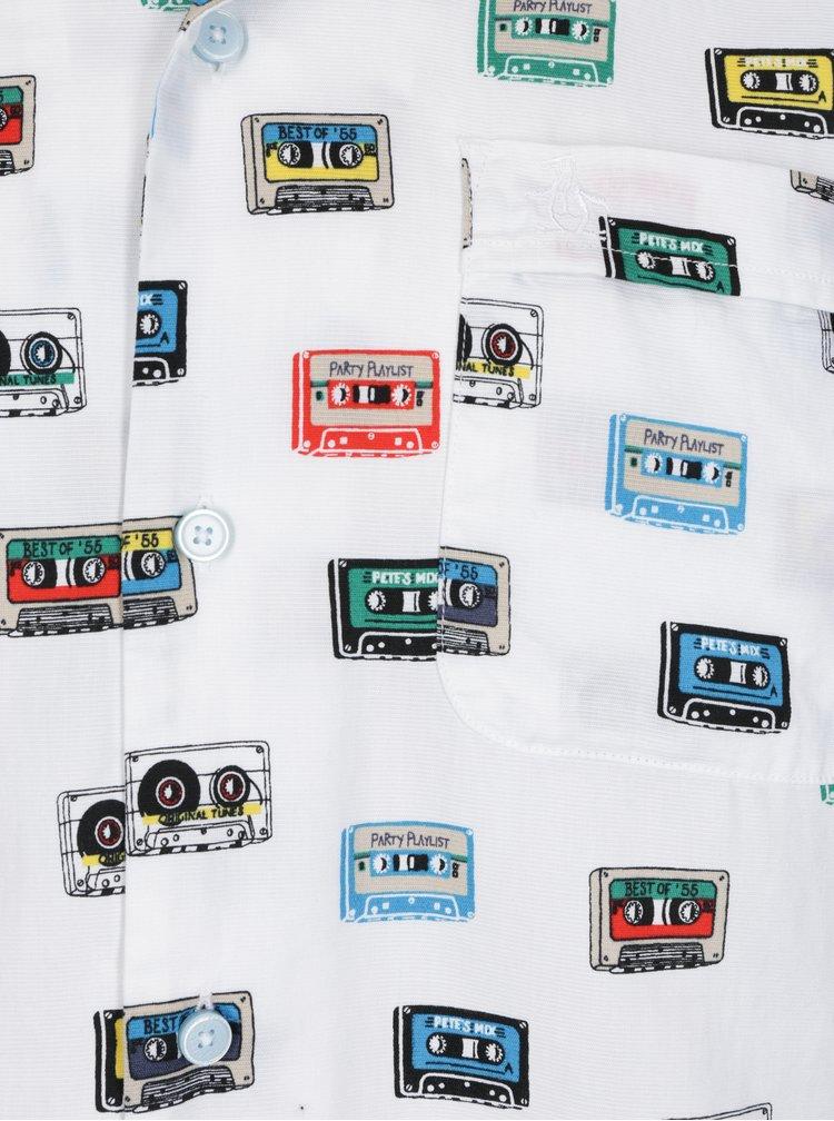 Bílá vzorovaná košile s náprsní kapsou Original Penguin Cassette