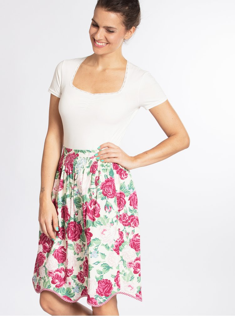 Bílo-růžová květovaná sukně Blutsgeschwister