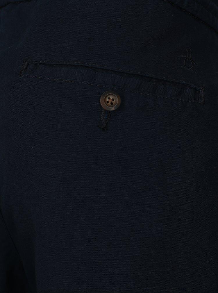 Tmavě modré lněné kalhoty Original Penguin Relaxed Linen