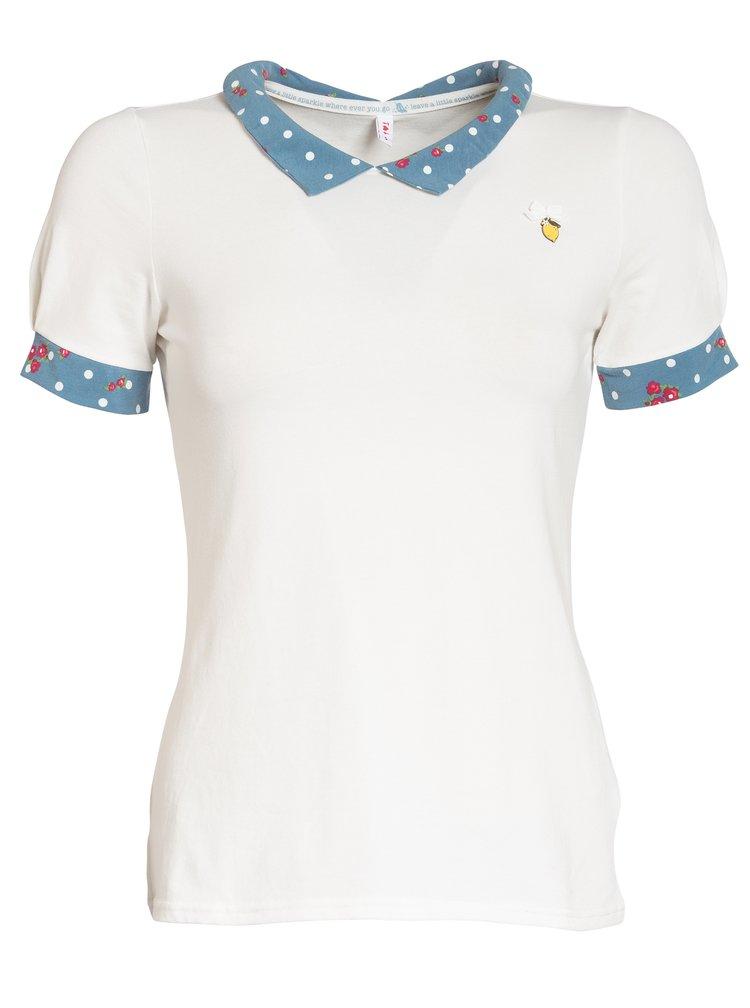 Krémové tričko s límečkem Blutsgeschwister