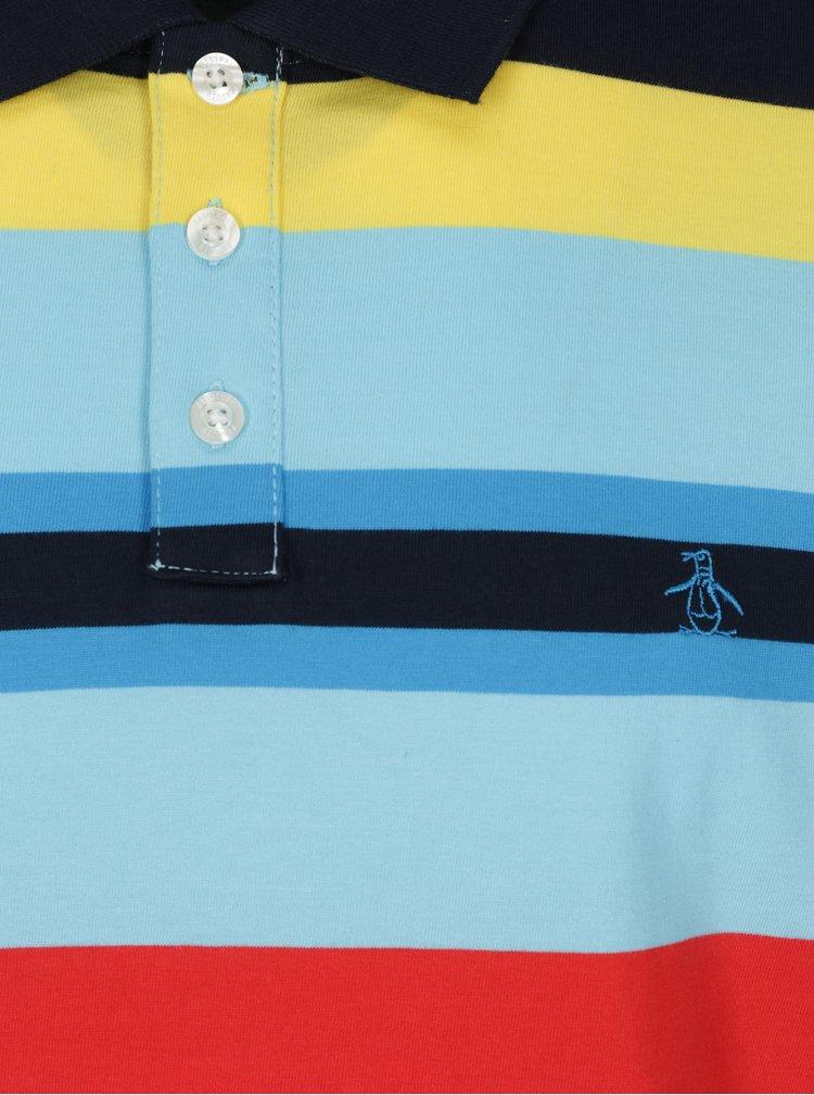 Modré pruhované polo tričko Original Penguin Engineered