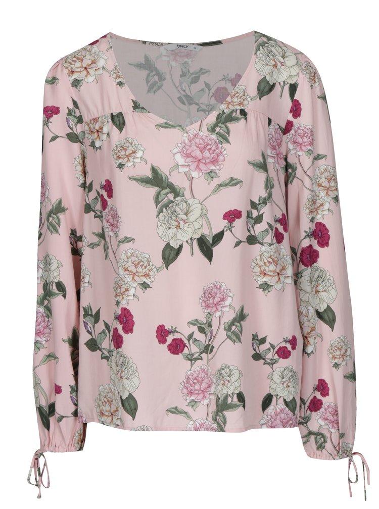 Světle růžová květovaná halenka ONLY Paris