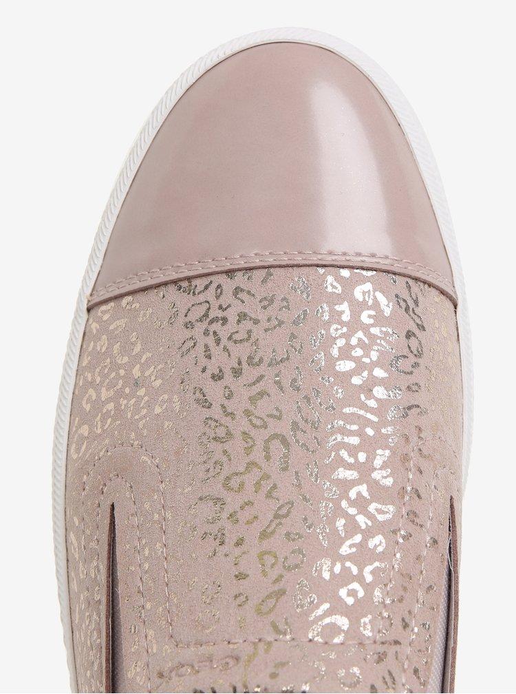 Pantofi slip-on roz prafuit cu animal print pentru femei Geox Giyo