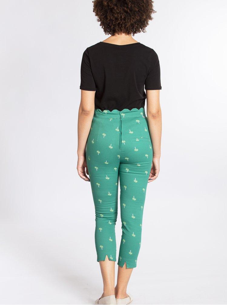 Tmavě zelené vzorované zkrácené kalhoty Blutsgeschwister